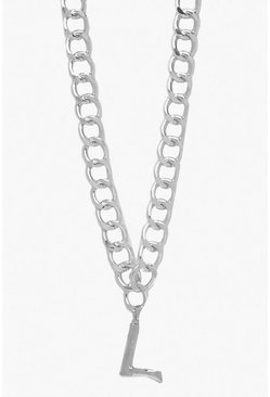 Womens Silver Chain Detail Initial Necklace (L)
