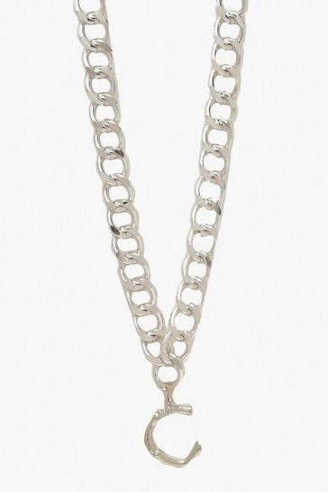 Womens Silver Chain Detail Initial Necklace (C)