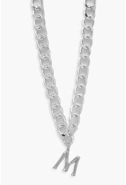 Chain Detail Initial Necklace (M), Silver, Donna
