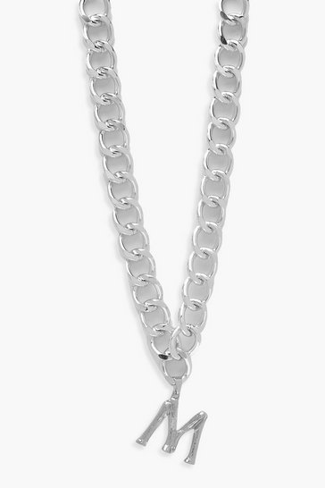 Womens Silver Chain Detail Initial Necklace (M)