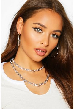 Womens Silver Layered Chain Necklace