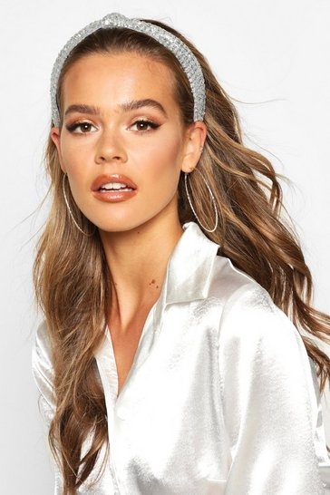 Silver Glitter Twist Knot Head Band