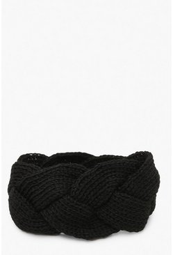 Womens Black Plaited Knitted Head Band