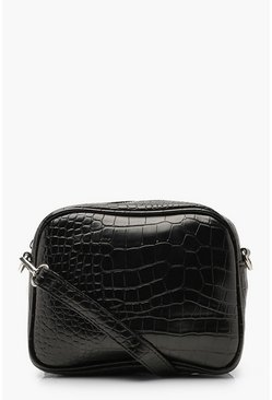 Black Croc Multiway Camera Bag