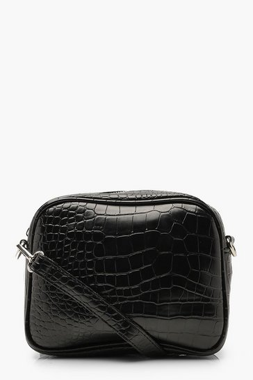 Womens Black Croc Multiway Camera Bag