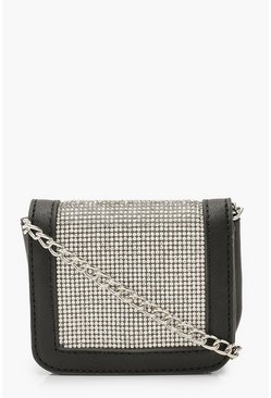 Womens Black Micro Mini Diamante Cross Body Bag