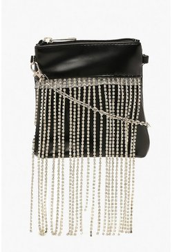 Womens Black Premium Diamante Fringe Cross Body Bag