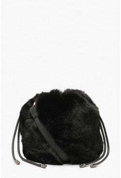Womens Black Faux Fur Draw String Cross Body Bag