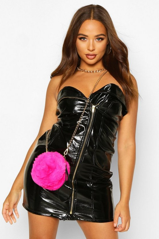 Faux Fur Round Clutch & Chain Cross Body Bag