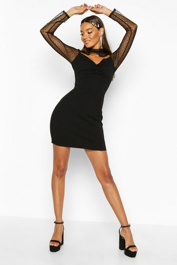 Black Dobby Mesh Twist Front Crepe Mini