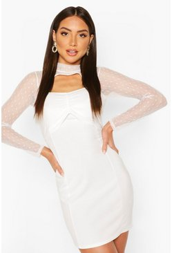 White Dobby Mesh Twist Front Crepe Mini