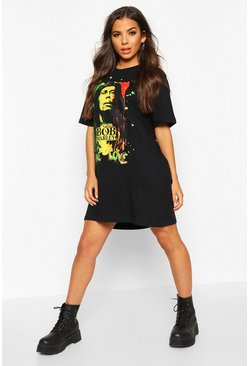 Black Bob Marley Licensed T-Shirt Dress