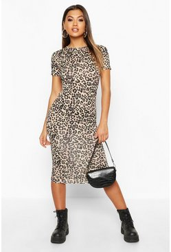 Womens Brown Leopard Print Short Sleeve Midi Dress