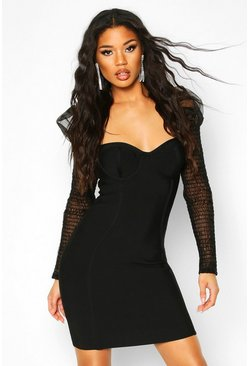 Mesh Shirred Puff Sleeve Bandage Mini Dress, Black