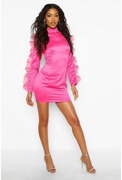 Hot pink Organza Ruffle Long Sleeve Mini Dress