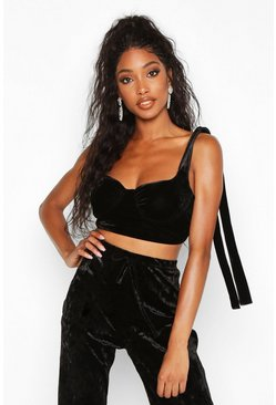 Womens Black Velvet Cupped Tie Detail Bralet
