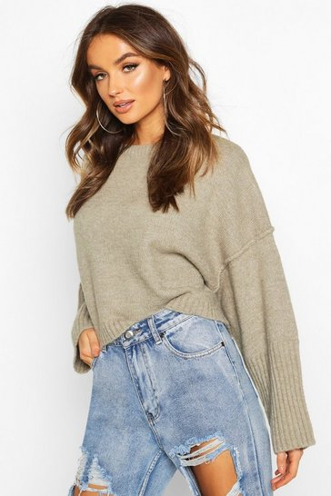 Womens Olive Oversized Crew Neck Soft Knit Jumper