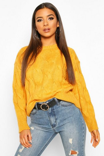 Womens Mustard Cable Knit Jumper