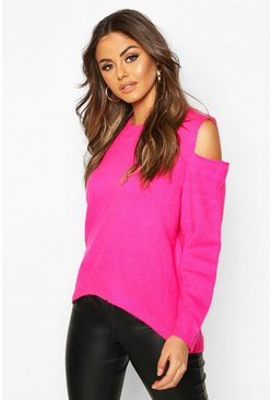 Womens Neon-pink Oversized Jumper
