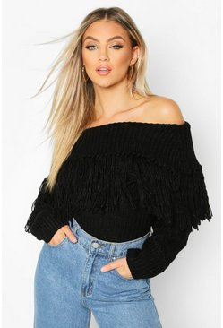 Black Bardot Fringe Detail Sweater