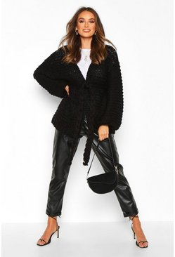 Womens Black Premium Hand Knitted Belted Cardigan