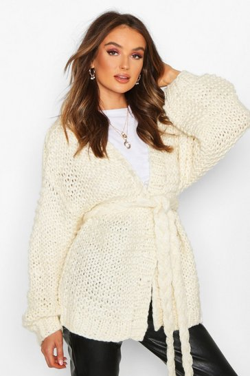 Cream Premium Hand Knitted Belted Cardigan
