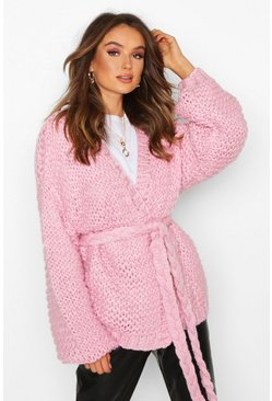 Womens Pink Premium Hand Knitted Belted Cardigan