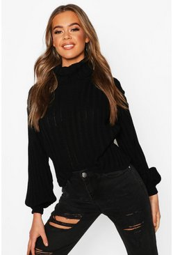 Womens Black Rib Knit Roll Neck Balloon Sleeve Jumper