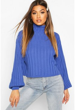 Blue Rib Knit Roll Neck Balloon Sleeve Jumper