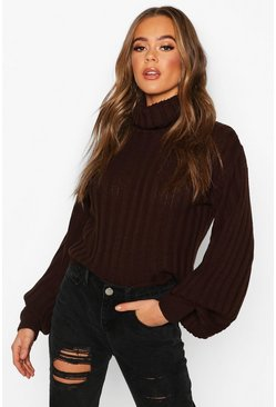Chocolate Rib Knit Roll Neck Balloon Sleeve Jumper