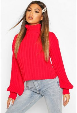 Womens Red Rib Knit Roll Neck Balloon Sleeve Jumper