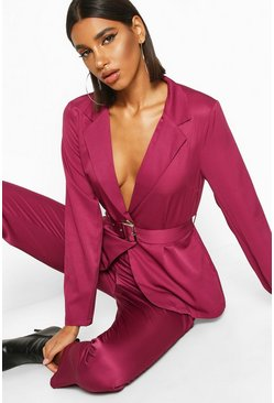 Womens Fuchsia Belted Tailored Blazer