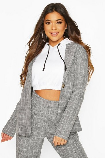 Grey Grid Check Belted Blazer