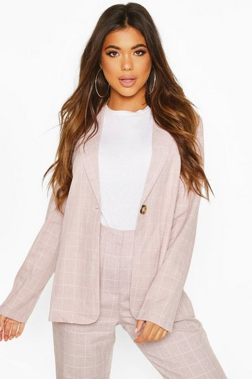 Womens Pink Grid Check Belted Blazer