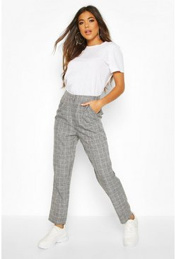 Womens Grey Grid Check Tapered Trouser