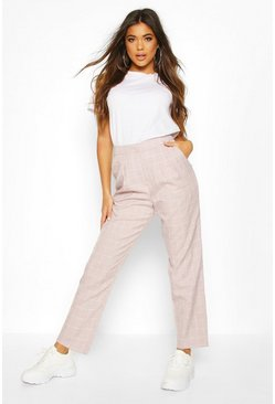 Pink Grid Check Tapered Pants