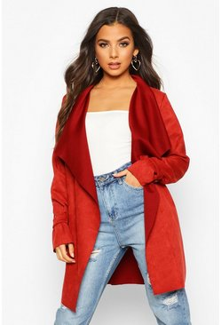 Rust Faux Suede Waterfall Jacket