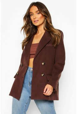 Womens Chocolate Wool Look Blazer