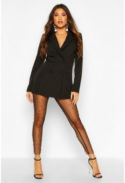 Womens Black Pearl Mesh Leggings