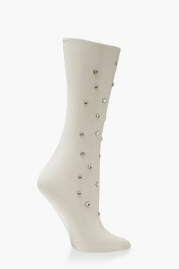 Womens Ivory Star Gem Mesh Socks
