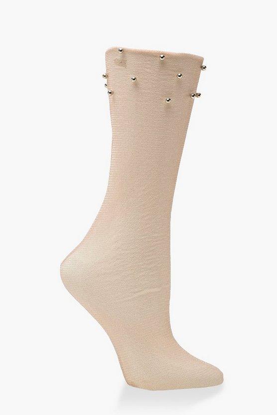 Shimmer Pearl Mesh Socks