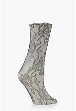 Womens Black Lace Diamante Embellished Socks