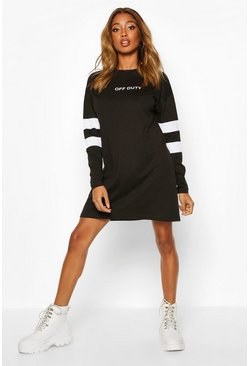 Black Sleeve Stripe Off Duty T-Shirt Dress