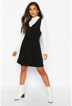 Black Cord V-Neck Double Pocket Pinny