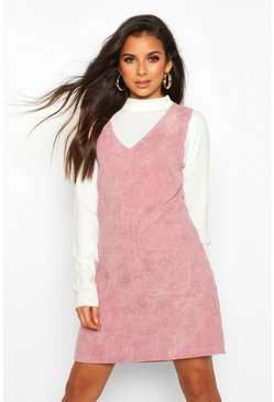 Womens Dusky pink Cord V-Neck Double Pocket Pinny