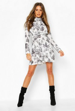 Ivory Landscape Print High Neck Fit & Flare Dress
