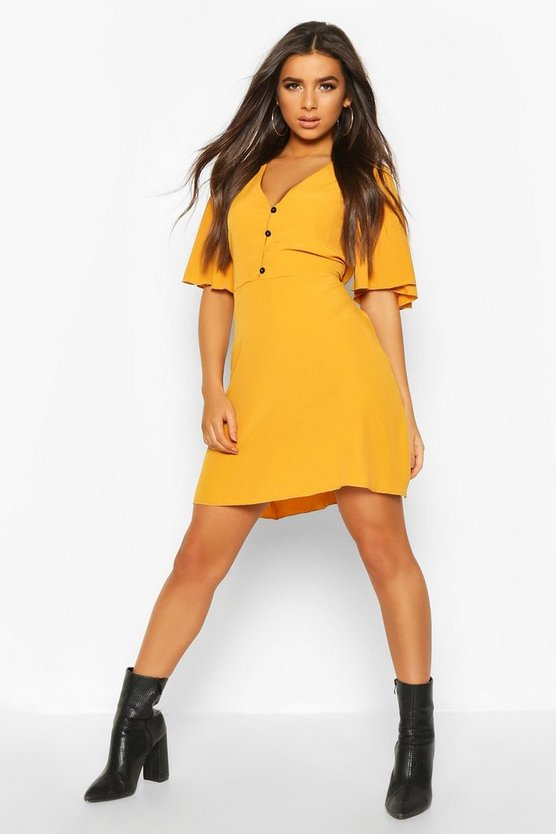 Mustard Woven Button Thru Flatter Sleeve Skater Dress
