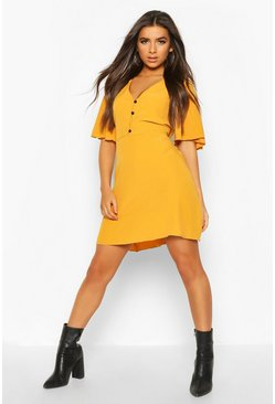 Womens Mustard Woven Button Thru Flatter Sleeve Skater Dress