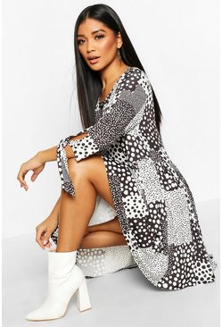 Womens Black Mixed Spot Print Tie Sleeve Smock Dress