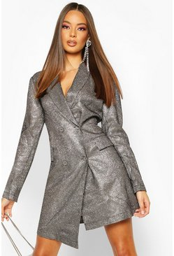 Womens Black Sparkle Double Breasted Blazer Dress